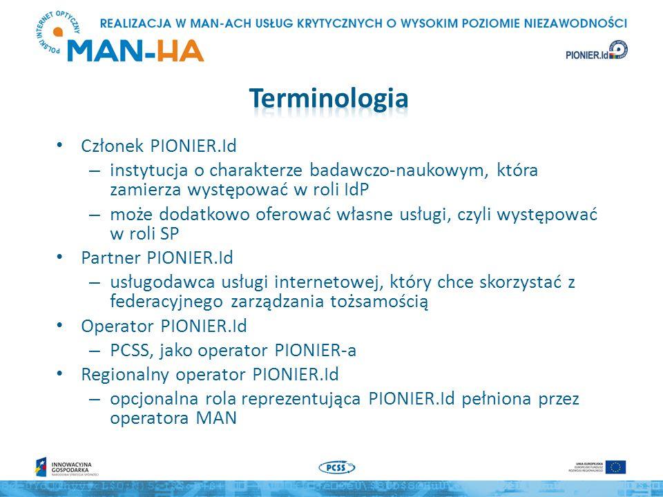 Członek PIONIER.Id – instytucja o charakterze badawczo-naukowym, która zamierza występować w roli IdP – może dodatkowo oferować własne usługi, czyli występować w roli SP Partner PIONIER.Id – usługodawca usługi internetowej, który chce skorzystać z federacyjnego zarządzania tożsamością Operator PIONIER.Id – PCSS, jako operator PIONIER-a Regionalny operator PIONIER.Id – opcjonalna rola reprezentująca PIONIER.Id pełniona przez operatora MAN
