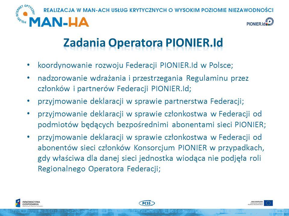 koordynowanie rozwoju Federacji PIONIER.Id w Polsce; nadzorowanie wdrażania i przestrzegania Regulaminu przez członków i partnerów Federacji PIONIER.Id; przyjmowanie deklaracji w sprawie partnerstwa Federacji; przyjmowanie deklaracji w sprawie członkostwa w Federacji od podmiotów będących bezpośrednimi abonentami sieci PIONIER; przyjmowanie deklaracji w sprawie członkostwa w Federacji od abonentów sieci członków Konsorcjum PIONIER w przypadkach, gdy właściwa dla danej sieci jednostka wiodąca nie podjęła roli Regionalnego Operatora Federacji;