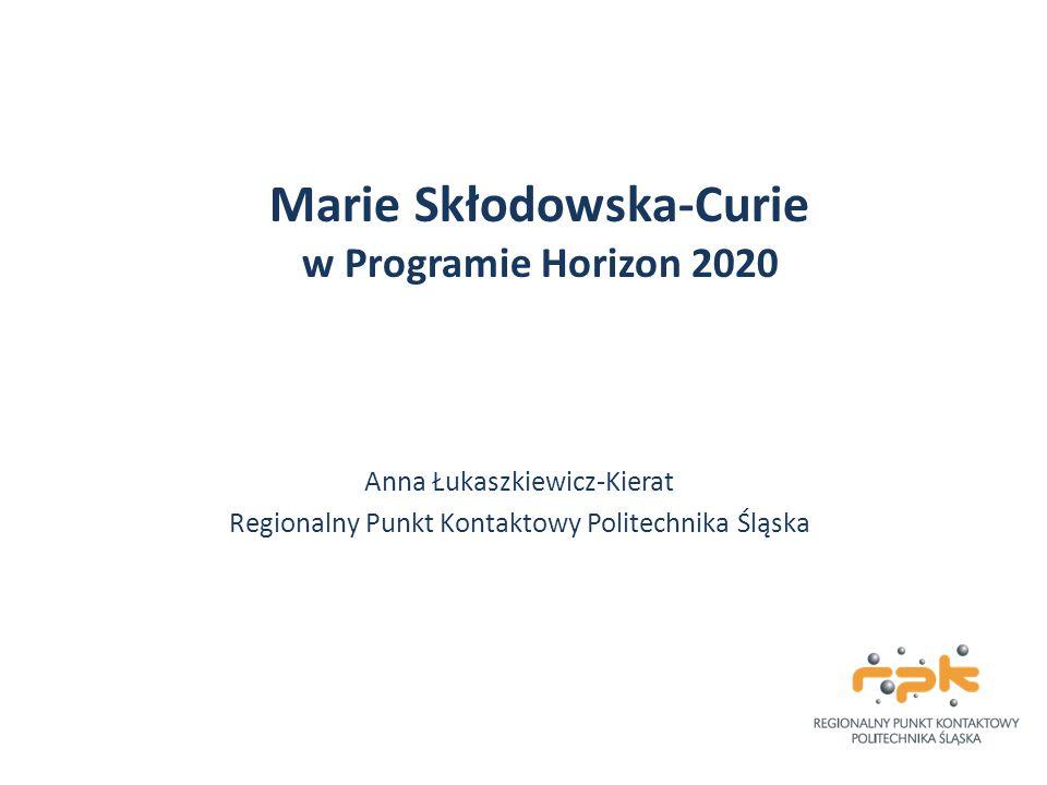 Akcje Marie Skłodowska-Curie Zapewnienie optymalnego rozwoju i dynamicznego wykorzystania europejskiego potencjału intelektualnego w celu tworzenia nowej wiedzy, umiejętności i innowacji; Rozwój kreatywnych i innowacyjnych programów szkoleniowych; Wyłanianie talentów w nauce i innowacjach poprzez konkursy międzynarodowe oraz ich zatrzymanie w Europie; Umożliwienie współpracy najlepszym naukowcom z i spoza Europy w ramach różnych krajów, sektorów i obszarów badawczych; Stworzenie zupełnie nowego sposobu myślenia kluczowego dla przedsiębiorczości i innowacji; Promocja stabilnego rozwoju kariery naukowej.