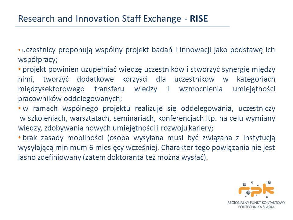 Research and Innovation Staff Exchange - RISE u czestnicy proponują wspólny projekt badań i innowacji jako podstawę ich współpracy; projekt powinien u