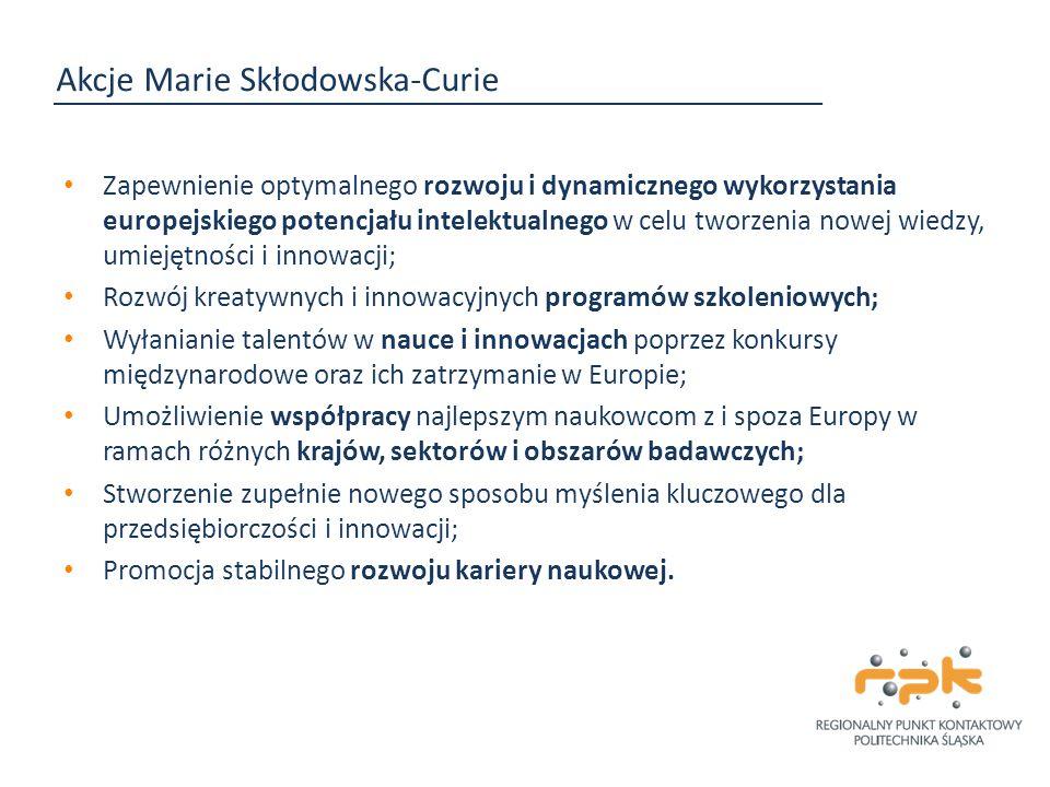 Akcje Marie Skłodowska-Curie Zapewnienie optymalnego rozwoju i dynamicznego wykorzystania europejskiego potencjału intelektualnego w celu tworzenia no