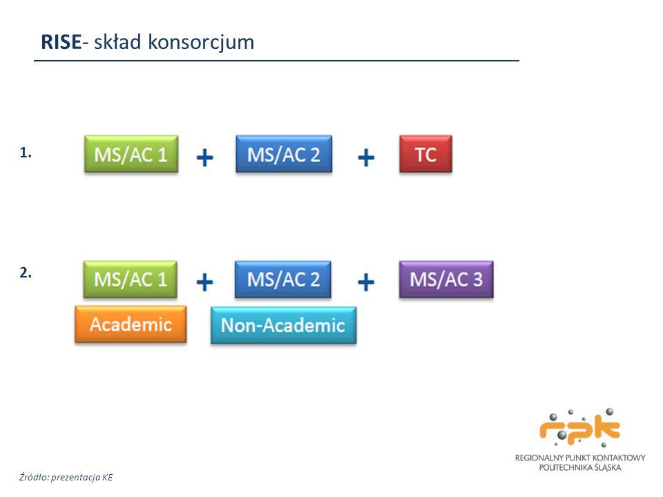 RISE- skład konsorcjum 1. 2. Źródło: prezentacja KE