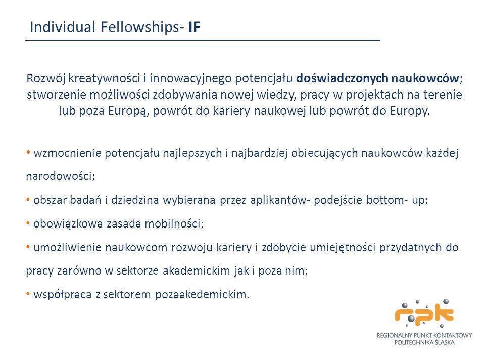 Individual Fellowships- IF Rozwój kreatywności i innowacyjnego potencjału doświadczonych naukowców; stworzenie możliwości zdobywania nowej wiedzy, pra