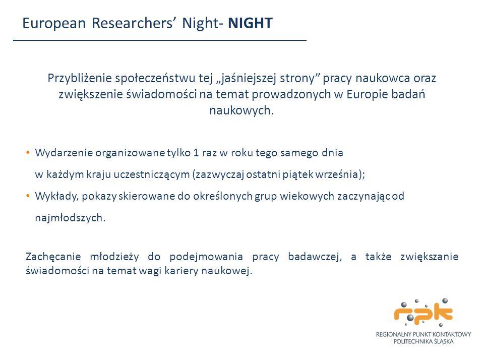 """European Researchers' Night- NIGHT Przybliżenie społeczeństwu tej """"jaśniejszej strony"""" pracy naukowca oraz zwiększenie świadomości na temat prowadzony"""