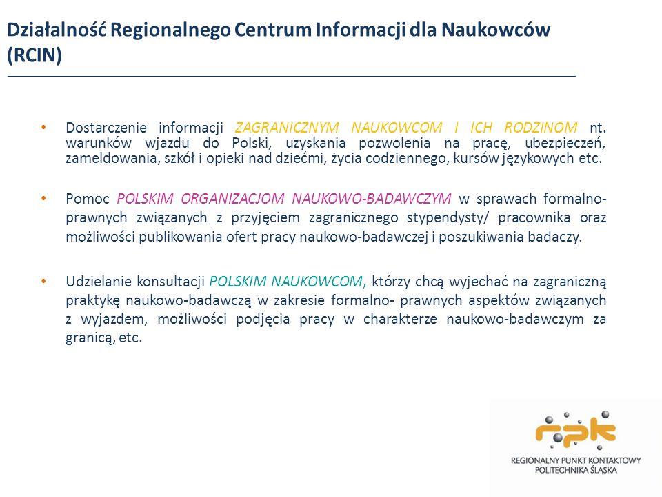 Działalność Regionalnego Centrum Informacji dla Naukowców (RCIN) Dostarczenie informacji ZAGRANICZNYM NAUKOWCOM I ICH RODZINOM nt. warunków wjazdu do