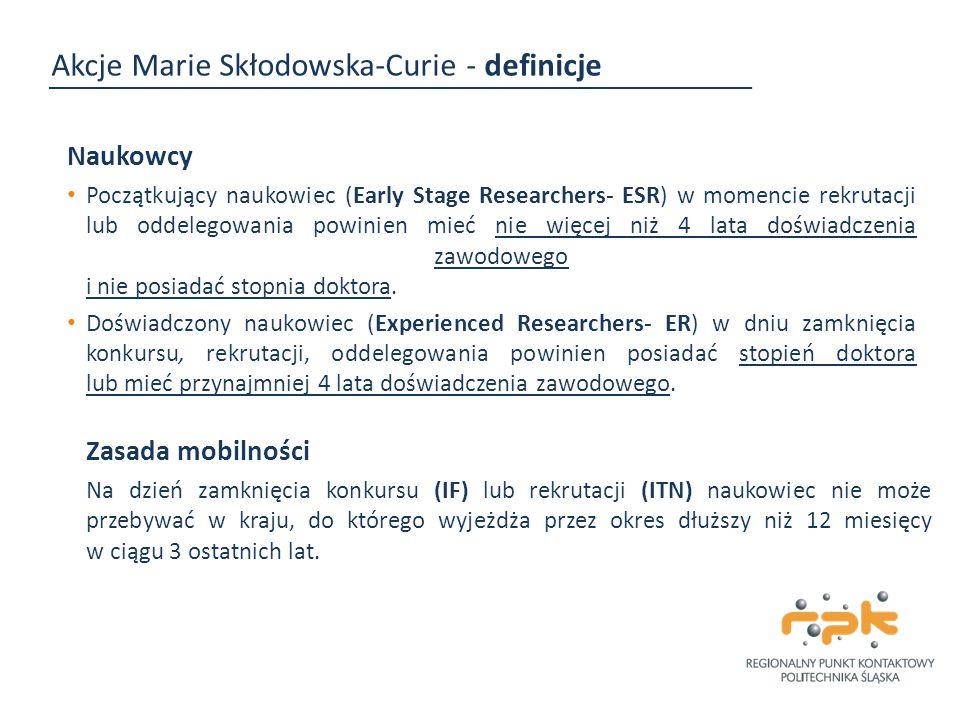 Akcje Marie Skłodowska-Curie - definicje Naukowcy Początkujący naukowiec (Early Stage Researchers- ESR) w momencie rekrutacji lub oddelegowania powini