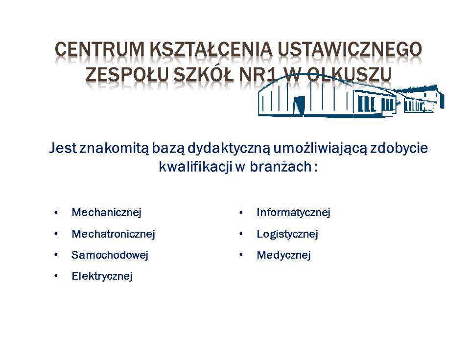 Jest znakomitą bazą dydaktyczną umożliwiającą zdobycie kwalifikacji w branżach : Mechanicznej Mechatronicznej Samochodowej Elektrycznej Informatycznej
