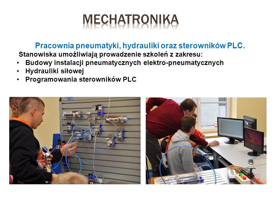 Pracownia pneumatyki, hydrauliki oraz sterowników PLC. Stanowiska umożliwiają prowadzenie szkoleń z zakresu: Budowy instalacji pneumatycznych elektro-