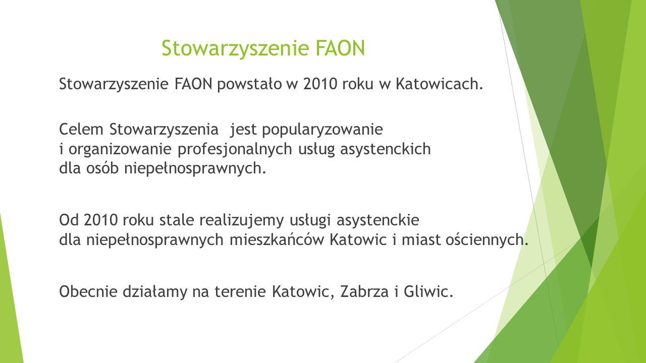 Działania asystenckie dla dzieci  Pogotowie asystenckie Katowice (2011 – 2012 – 2013 – 2014)  Gliwickie Centrum Asystentury (2014)  Dzieciaki - indywidualnych usług asystenckich dla dzieci z nadpobudliwością psychoruchową (2011)  FAON – SPINA – usługi asystenckie dla przedszkolaków z rozszczepem kręgosłupa (2011 i 2012)  Spina Dobry Start (2013)  Usługi opiekuńcze dla dzieci z niepełnosprawnościami (2014)