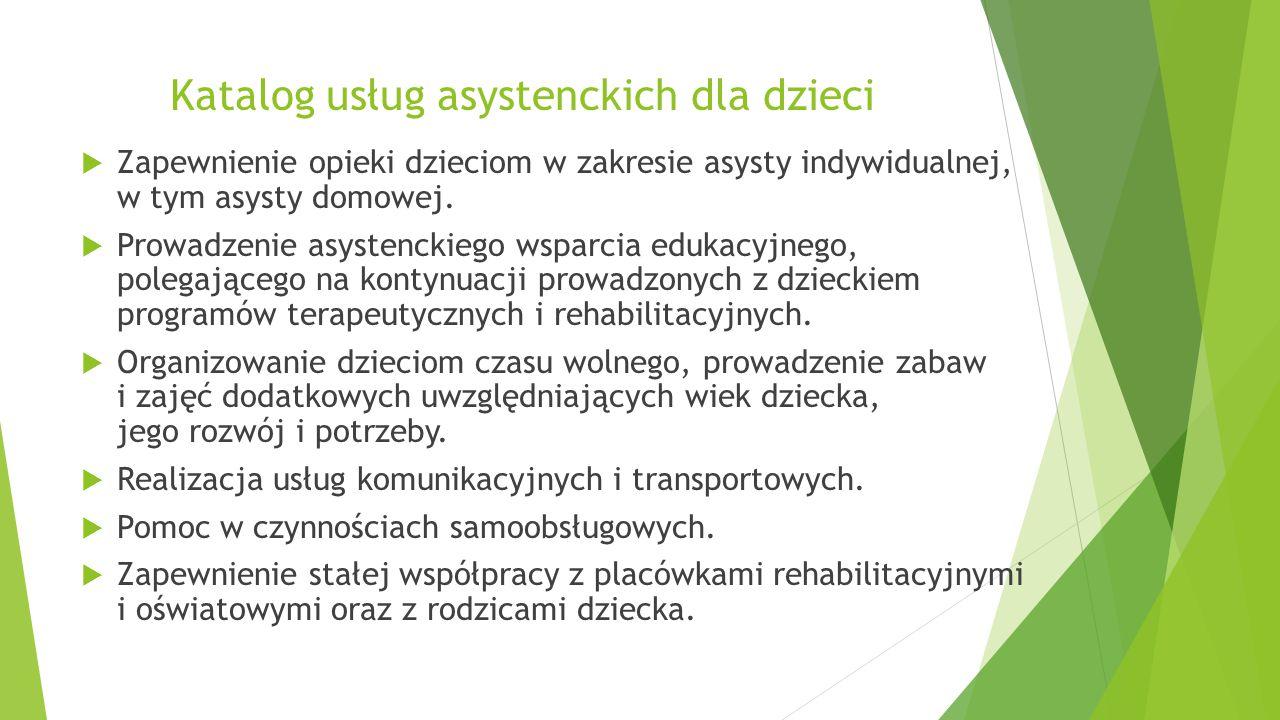 Usługi asystenckie dla dzieci niepełnosprawnych  Oferta dla dziecka: Aktywizacja społeczna i edukacyjna dzieci i młodzieży z niepełnosprawnością.