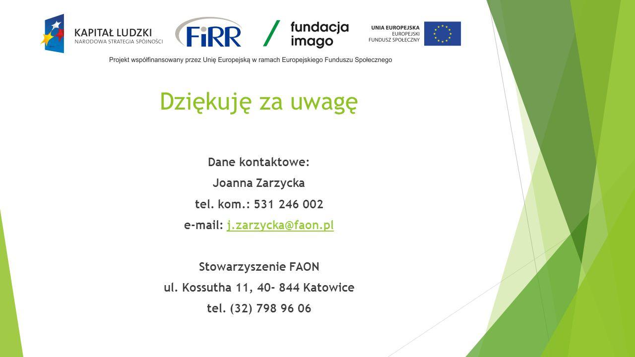 Dziękuję za uwagę Dane kontaktowe: Joanna Zarzycka tel. kom.: 531 246 002 e-mail: j.zarzycka@faon.plj.zarzycka@faon.pl Stowarzyszenie FAON ul. Kossuth
