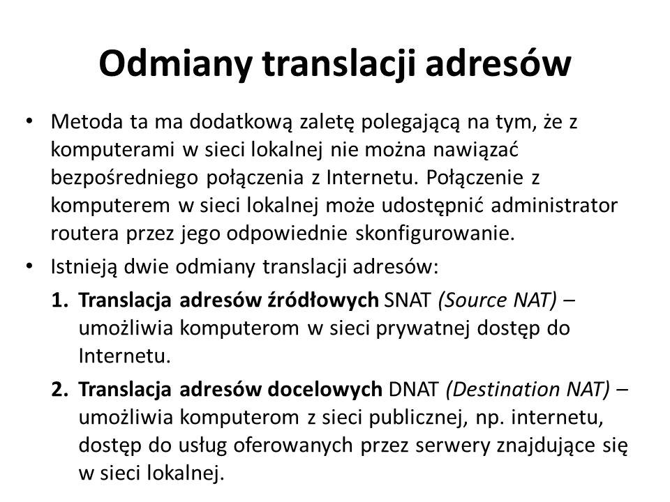 Odmiany translacji adresów Metoda ta ma dodatkową zaletę polegającą na tym, że z komputerami w sieci lokalnej nie można nawiązać bezpośredniego połącz