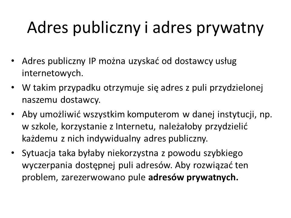 Adres publiczny i adres prywatny Adres publiczny IP można uzyskać od dostawcy usług internetowych. W takim przypadku otrzymuje się adres z puli przydz