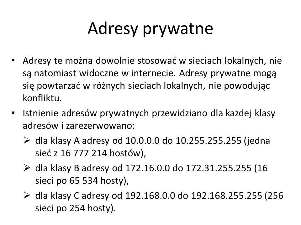 Adresy prywatne Adresy te można dowolnie stosować w sieciach lokalnych, nie są natomiast widoczne w internecie. Adresy prywatne mogą się powtarzać w r