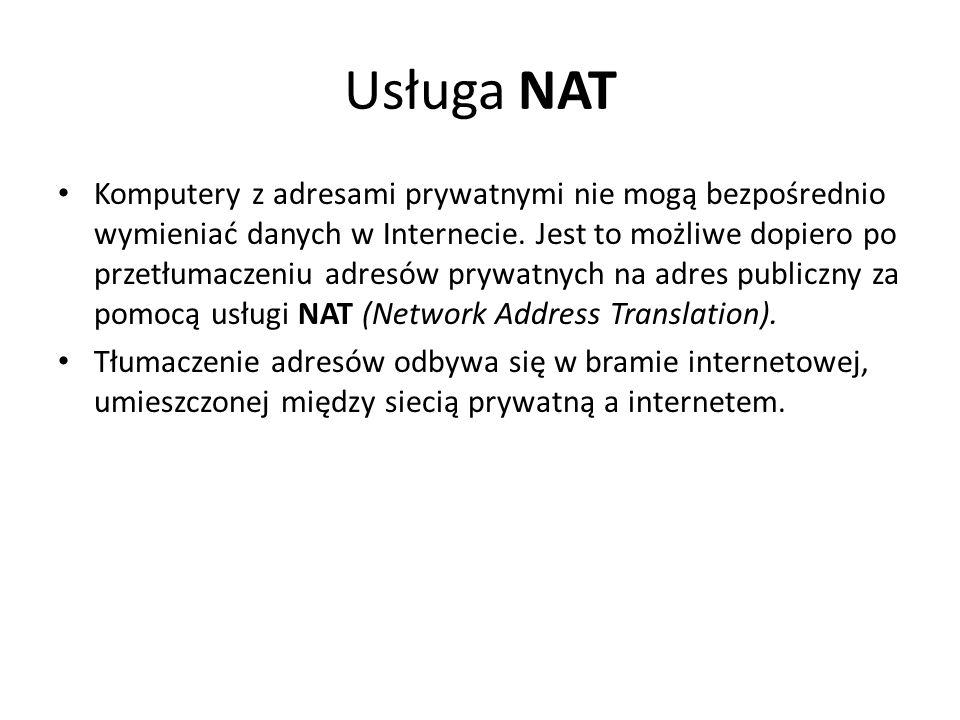Usługa NAT Komputery z adresami prywatnymi nie mogą bezpośrednio wymieniać danych w Internecie. Jest to możliwe dopiero po przetłumaczeniu adresów pry