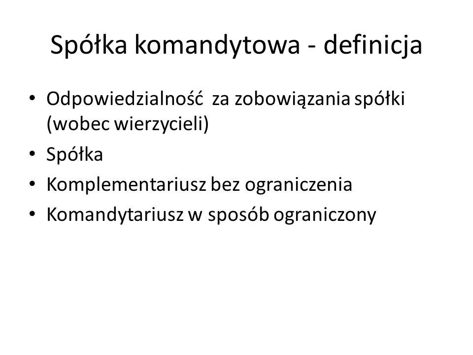 Spółka komandytowa - definicja Odpowiedzialność za zobowiązania spółki (wobec wierzycieli) Spółka Komplementariusz bez ograniczenia Komandytariusz w s
