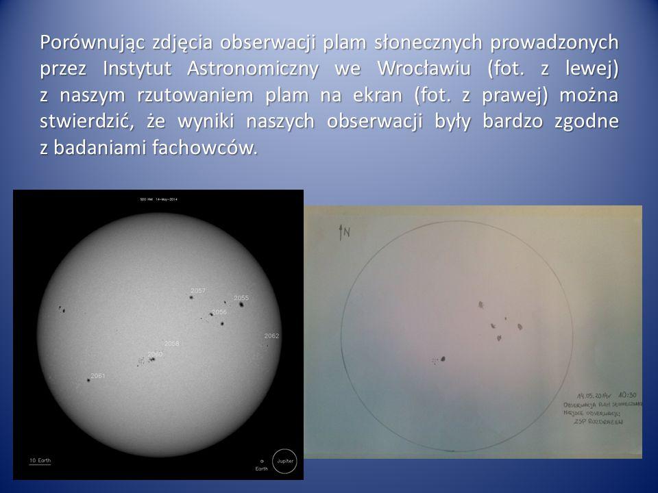 Porównując zdjęcia obserwacji plam słonecznych prowadzonych przez Instytut Astronomiczny we Wrocławiu (fot. z lewej) z naszym rzutowaniem plam na ekra