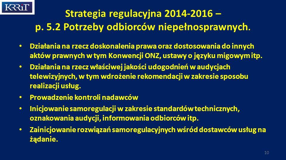 Strategia regulacyjna 2014-2016 – p.5.2 Potrzeby odbiorców niepełnosprawnych.