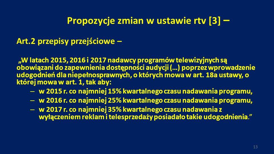 """Propozycje zmian w ustawie rtv [3] – Art.2 przepisy przejściowe – """"W latach 2015, 2016 i 2017 nadawcy programów telewizyjnych są obowiązani do zapewnienia dostępności audycji (…) poprzez wprowadzenie udogodnień dla niepełnosprawnych, o których mowa w art."""