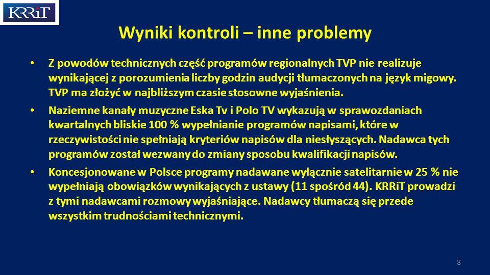 Wyniki kontroli – inne problemy Z powodów technicznych część programów regionalnych TVP nie realizuje wynikającej z porozumienia liczby godzin audycji tłumaczonych na język migowy.