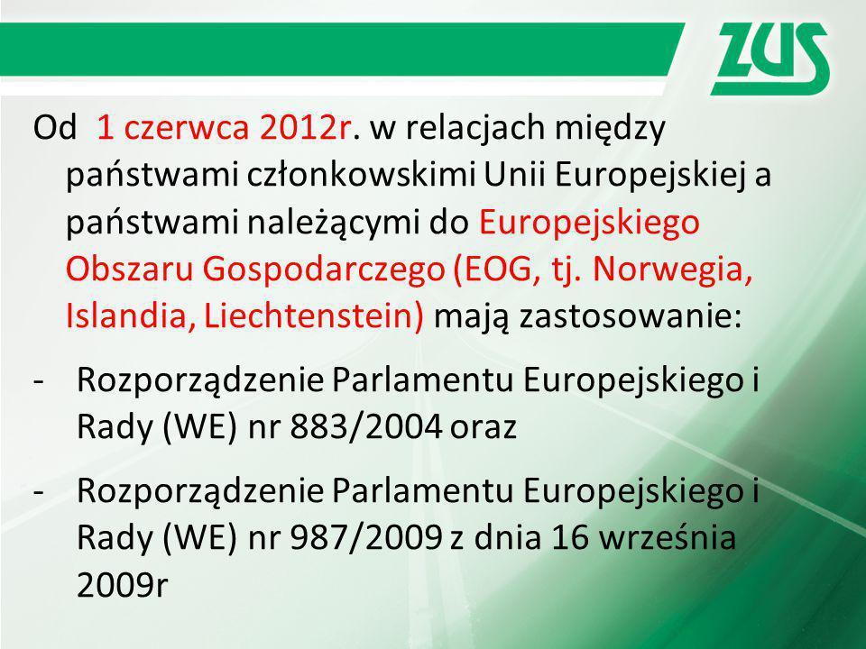 Od 1 czerwca 2012r. w relacjach między państwami członkowskimi Unii Europejskiej a państwami należącymi do Europejskiego Obszaru Gospodarczego (EOG, t