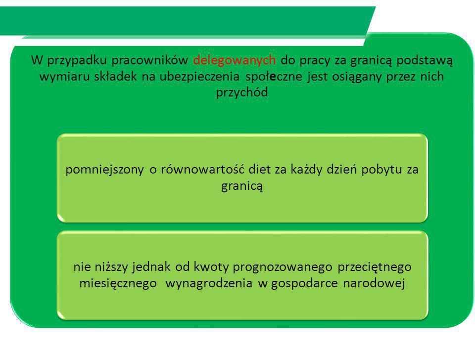 Warszawa 2013 W przypadku pracowników delegowanych do pracy za granicą podstawą wymiaru składek na ubezpieczenia społeczne jest osiągany przez nich pr