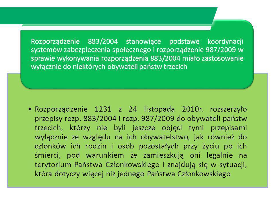 Rozporządzenie 1231 z 24 listopada 2010r. rozszerzyło przepisy rozp. 883/2004 i rozp. 987/2009 do obywateli państw trzecich, którzy nie byli jeszcze o
