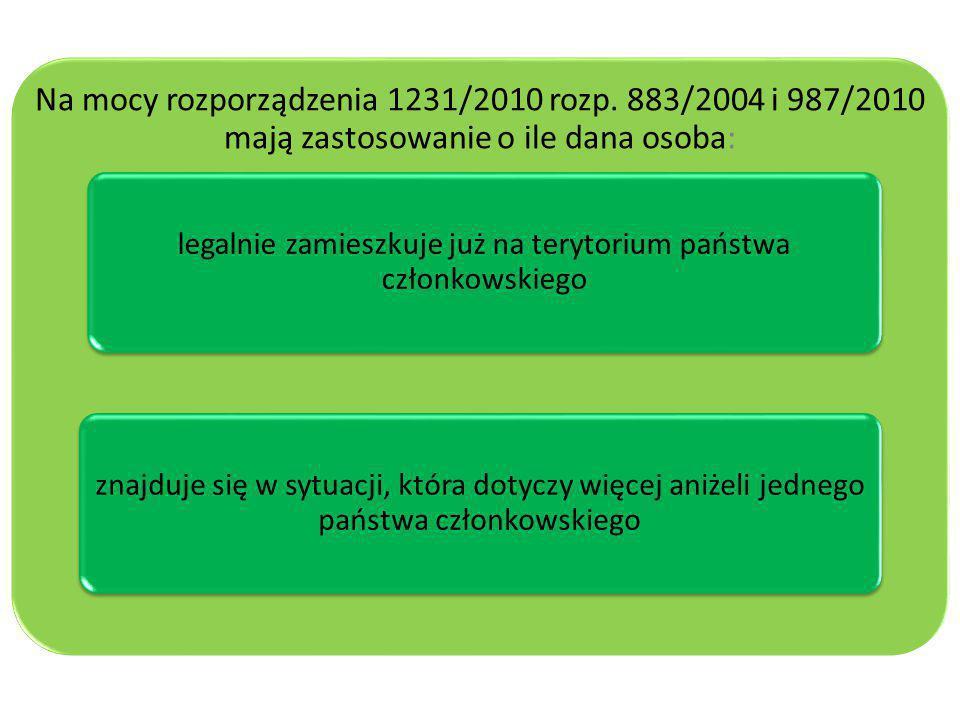 Na mocy rozporządzenia 1231/2010 rozp. 883/2004 i 987/2010 mają zastosowanie o ile dana osoba: legalnie zamieszkuje już na terytorium państwa członkow