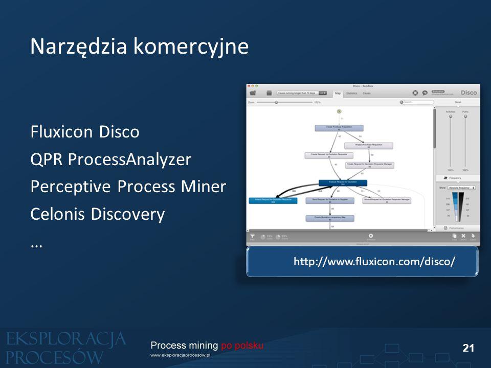 Narzędzia komercyjne Fluxicon Disco QPR ProcessAnalyzer Perceptive Process Miner Celonis Discovery … 21 http://www.fluxicon.com/disco/