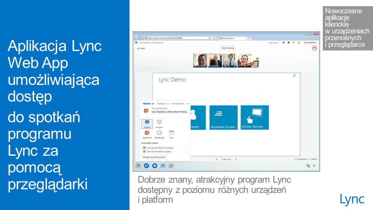 Dobrze znany, atrakcyjny program Lync dostępny z poziomu różnych urządzeń i platform