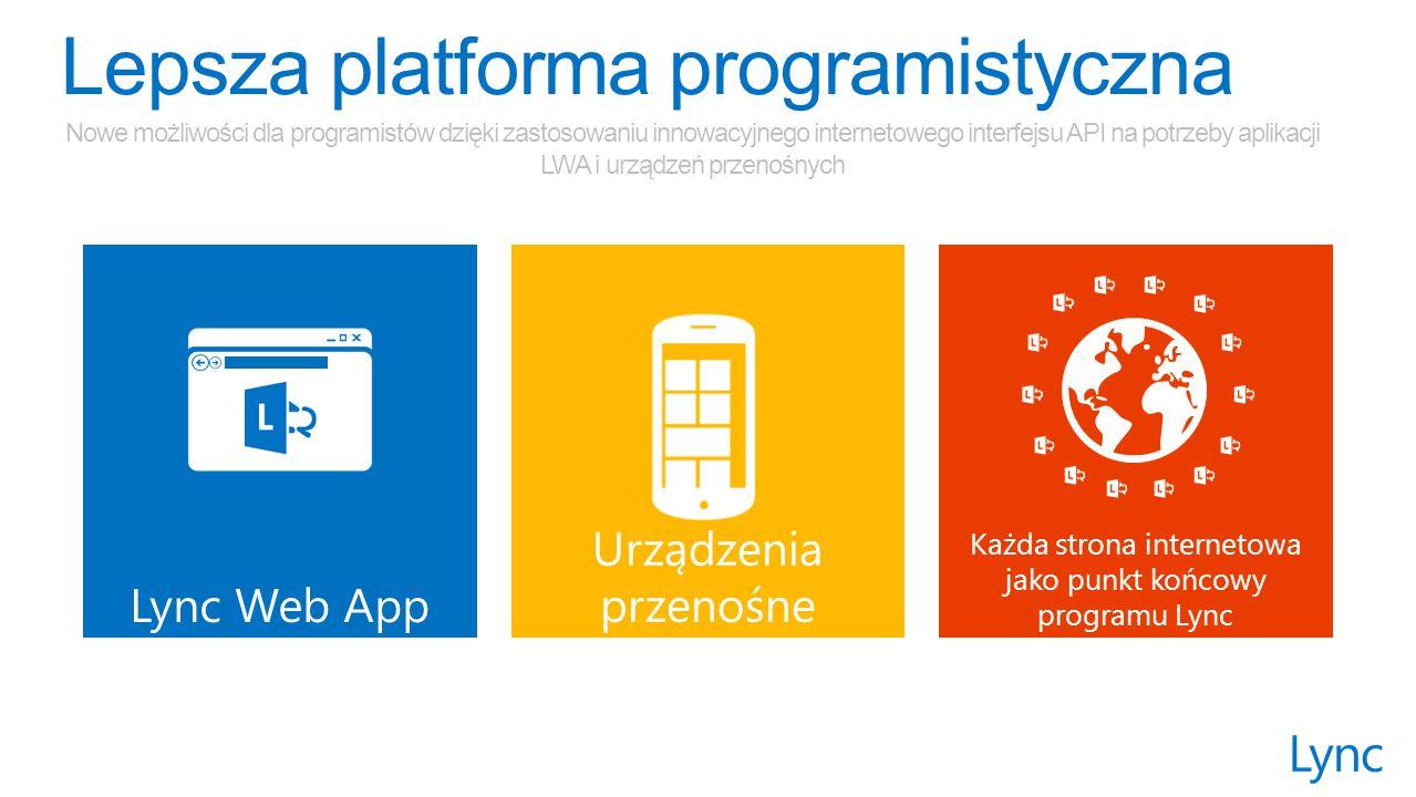 Lync Web App Urządzenia przenośne Każda strona internetowa jako punkt końcowy programu Lync Nowe możliwości dla programistów dzięki zastosowaniu innowacyjnego internetowego interfejsu API na potrzeby aplikacji LWA i urządzeń przenośnych