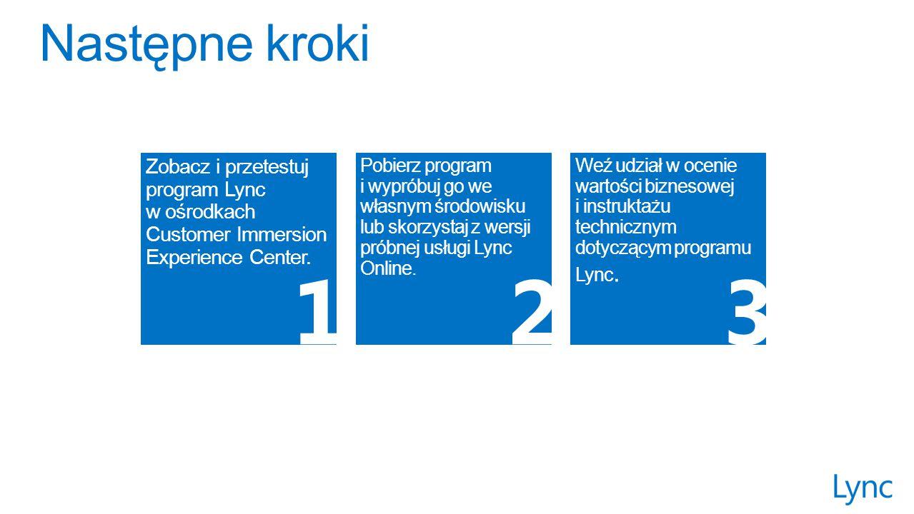 Pobierz program i wypróbuj go we własnym środowisku lub skorzystaj z wersji próbnej usługi Lync Online.