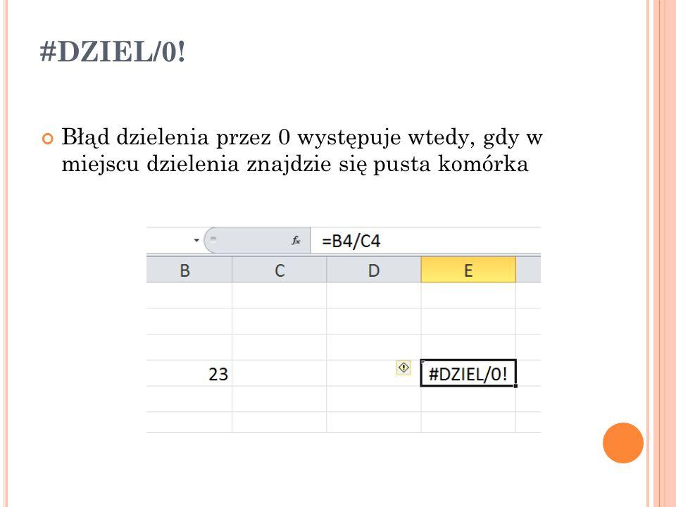 #DZIEL/0! Błąd dzielenia przez 0 występuje wtedy, gdy w miejscu dzielenia znajdzie się pusta komórka