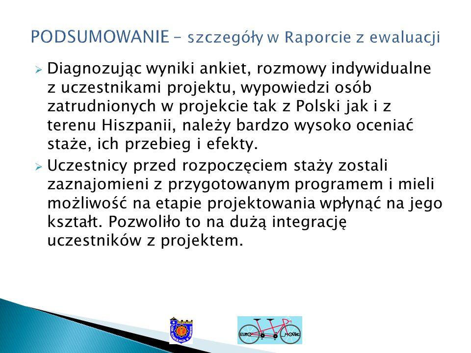  Diagnozując wyniki ankiet, rozmowy indywidualne z uczestnikami projektu, wypowiedzi osób zatrudnionych w projekcie tak z Polski jak i z terenu Hiszpanii, należy bardzo wysoko oceniać staże, ich przebieg i efekty.