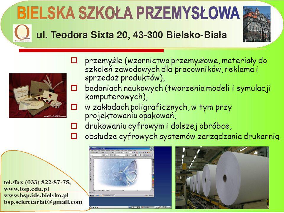  przemyśle (wzornictwo przemysłowe, materiały do szkoleń zawodowych dla pracowników, reklama i sprzedaż produktów),  badaniach naukowych (tworzenia