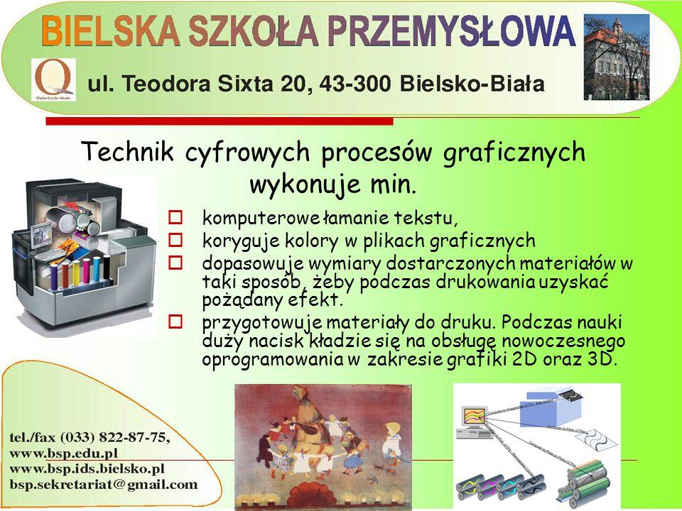  komputerowe łamanie tekstu,  koryguje kolory w plikach graficznych  dopasowuje wymiary dostarczonych materiałów w taki sposób, żeby podczas drukow