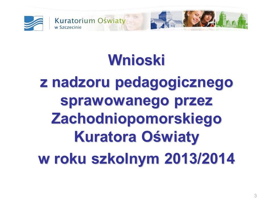 Realizacja nadzoru pedagogicznego w roku szkolnym 2013/14 Forma nadzoru pedagogicznegoLiczbaŁącznie Ewaluacjacałościowa37 340 problemowa303 Kontrola (od 1.09.2013 r.