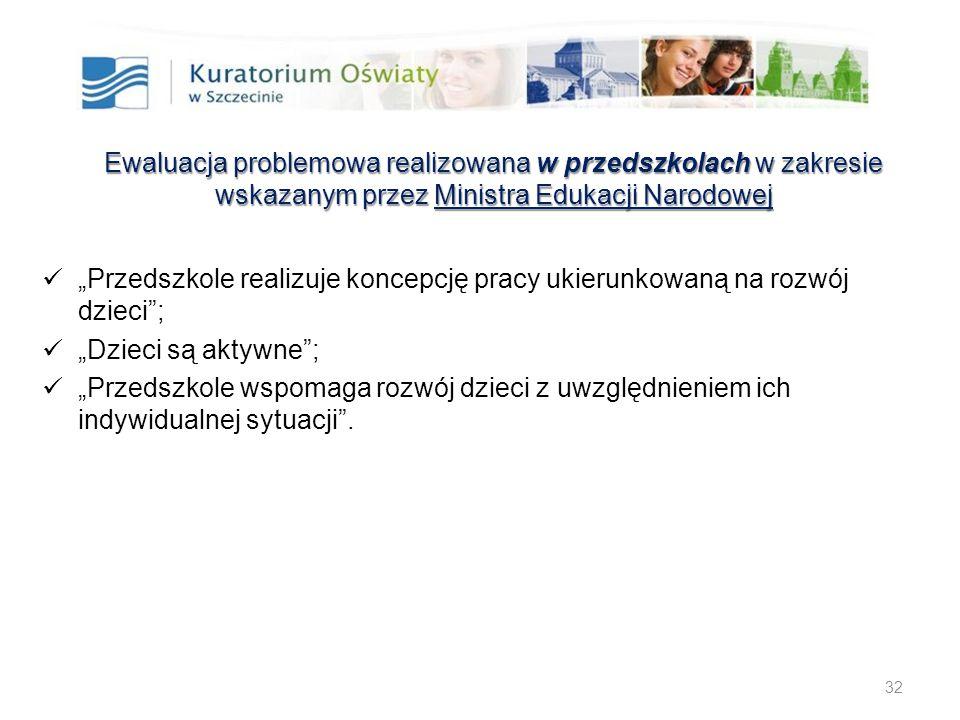 """32 Ewaluacja problemowa realizowana w przedszkolach w zakresie wskazanym przez Ministra Edukacji Narodowej """"Przedszkole realizuje koncepcję pracy ukie"""