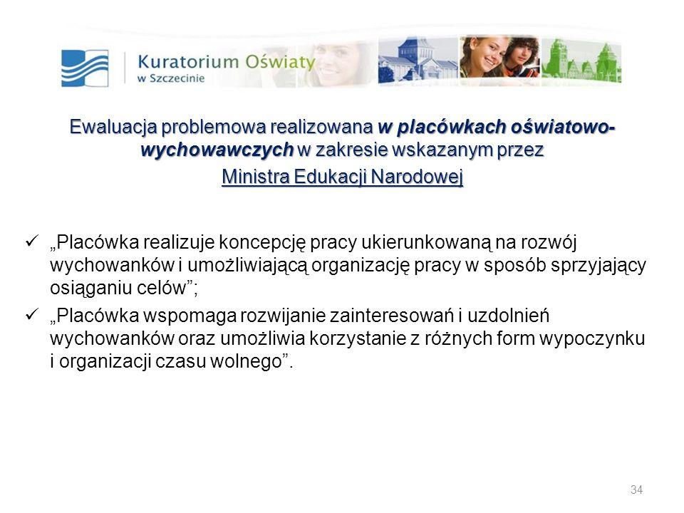 34 Ewaluacja problemowa realizowana w placówkach oświatowo- wychowawczychw zakresie wskazanym przez Ewaluacja problemowa realizowana w placówkach oświ