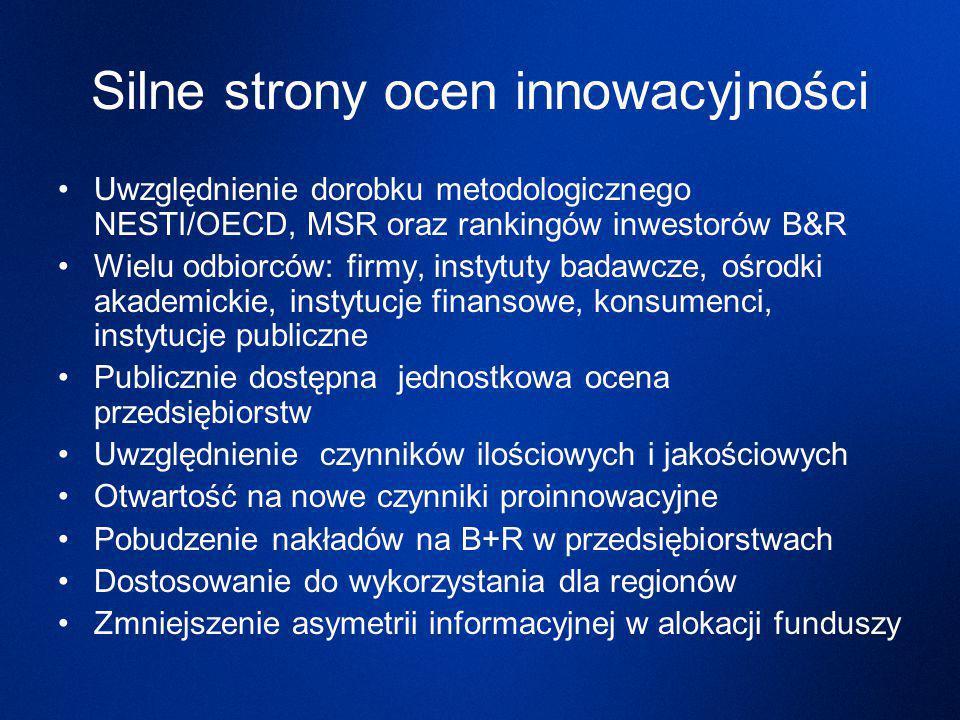 Silne strony ocen innowacyjności Uwzględnienie dorobku metodologicznego NESTI/OECD, MSR oraz rankingów inwestorów B&R Wielu odbiorców: firmy, instytuty badawcze, ośrodki akademickie, instytucje finansowe, konsumenci, instytucje publiczne Publicznie dostępna jednostkowa ocena przedsiębiorstw Uwzględnienie czynników ilościowych i jakościowych Otwartość na nowe czynniki proinnowacyjne Pobudzenie nakładów na B+R w przedsiębiorstwach Dostosowanie do wykorzystania dla regionów Zmniejszenie asymetrii informacyjnej w alokacji funduszy