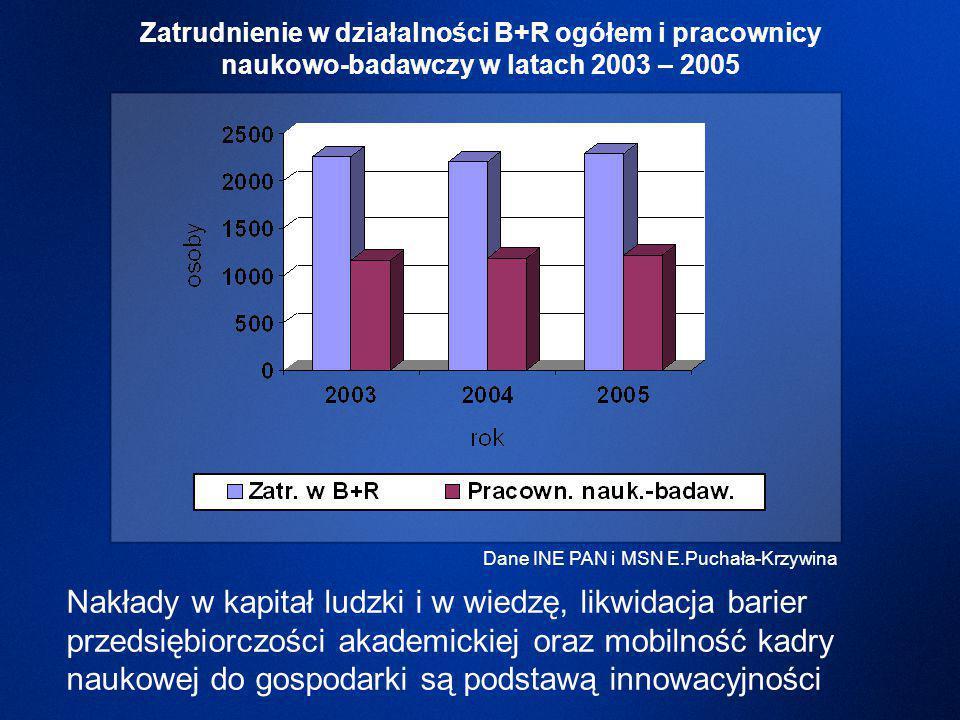 Nakłady w kapitał ludzki i w wiedzę, likwidacja barier przedsiębiorczości akademickiej oraz mobilność kadry naukowej do gospodarki są podstawą innowacyjności Dane INE PAN i MSN E.Puchała-Krzywina Zatrudnienie w działalności B+R ogółem i pracownicy naukowo-badawczy w latach 2003 – 2005