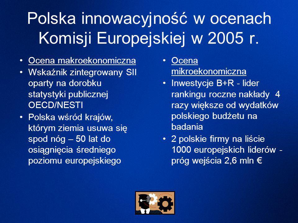 Ocena makroekonomiczna Wskaźnik zintegrowany SII oparty na dorobku statystyki publicznej OECD/NESTI Polska wśród krajów, którym ziemia usuwa się spod nóg – 50 lat do osiągnięcia średniego poziomu europejskiego Ocena mikroekonomiczna Inwestycje B+R - lider rankingu roczne nakłady 4 razy większe od wydatków polskiego budżetu na badania 2 polskie firmy na liście 1000 europejskich liderów - próg wejścia 2,6 mln € Polska innowacyjność w ocenach Komisji Europejskiej w 2005 r.