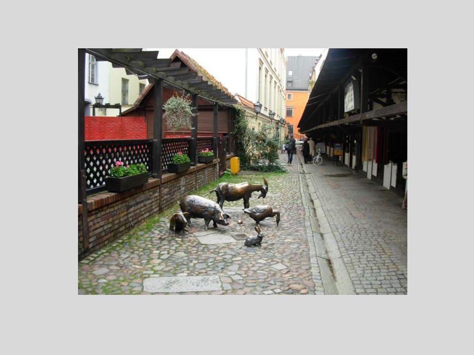 Pomnik Ku Czci Zwierząt Rzeźnych - grupa rzeźb zwierząt rzeźnych na ulicy Stare Jatki Pomnik przedstawiający grupę zwierząt odlanych z brązu: kozę, ko
