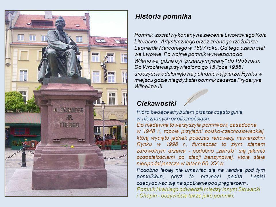 Historia pomnika Pomnik został wykonany na zlecenie Lwowskiego Koła Literacko - Artystycznego przez znanego rzeźbiarza Leonarda Marconiego w 1897 roku.