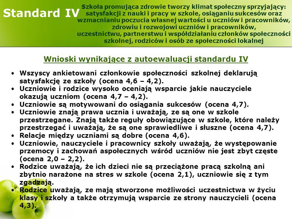 Standard IV Wnioski wynikające z autoewaluacji standardu IV Wszyscy ankietowani członkowie społeczności szkolnej deklarują satysfakcję ze szkoły (ocen