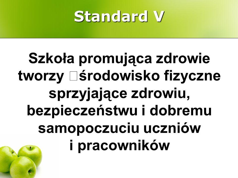 Standard V Szkoła promująca zdrowie tworzy œśrodowisko fizyczne sprzyjające zdrowiu, bezpieczeństwu i dobremu samopoczuciu uczniów i pracowników