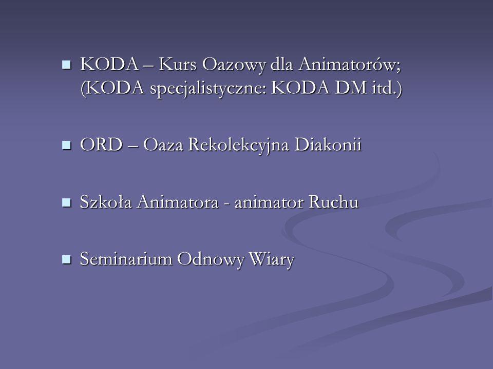 KODA – Kurs Oazowy dla Animatorów; (KODA specjalistyczne: KODA DM itd.) KODA – Kurs Oazowy dla Animatorów; (KODA specjalistyczne: KODA DM itd.) ORD –