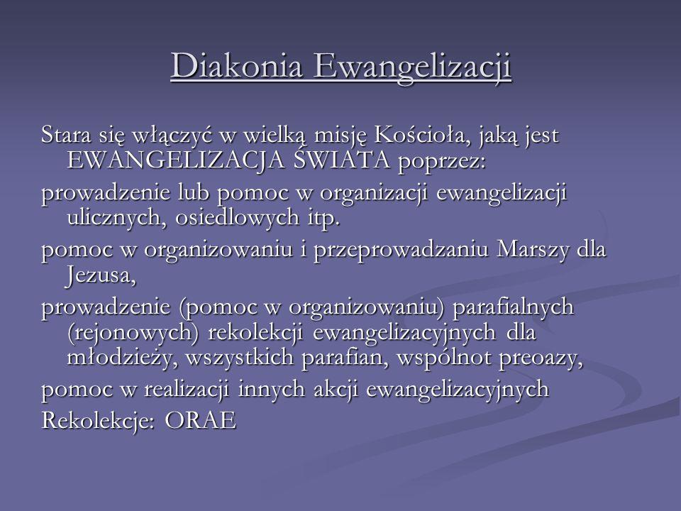Diakonia Ewangelizacji Stara się włączyć w wielką misję Kościoła, jaką jest EWANGELIZACJA ŚWIATA poprzez: prowadzenie lub pomoc w organizacji ewangelizacji ulicznych, osiedlowych itp.