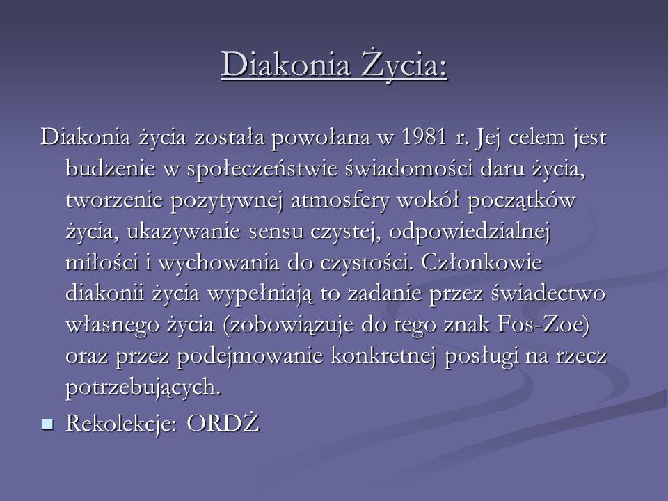 Diakonia Życia: Diakonia życia została powołana w 1981 r. Jej celem jest budzenie w społeczeństwie świadomości daru życia, tworzenie pozytywnej atmosf