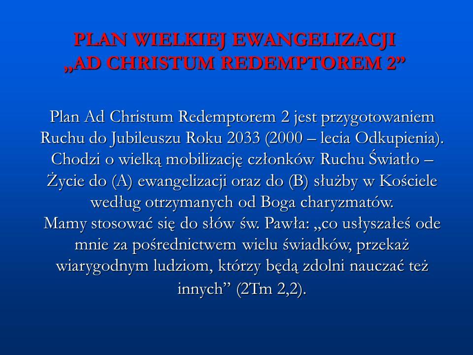 """PLAN WIELKIEJ EWANGELIZACJI """"AD CHRISTUM REDEMPTOREM 2"""" Plan Ad Christum Redemptorem 2 jest przygotowaniem Ruchu do Jubileuszu Roku 2033 (2000 – lecia"""